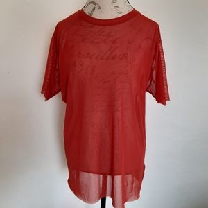 Silence + Noise Sheer Coral Red T Shirt Womens M